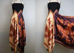 1970s silk scarf dress/ paisley print/ hankie by GidgetteBardot, $110.00