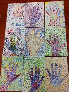 First grade worked on one point perspective. We concentrated on the vanishing point, the horizon line, and how objects are big when they are close to us and how they get smaller the farther away they get. Aboriginal Patterns, Aboriginal Art, Georges Seurat, Eyfs, Grade 1, Pattern Art, Elementary Schools, Art Projects, Kindergarten