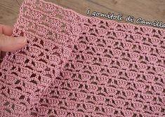 Punto traforato a uncinetto con maglie alte e catenelle: punti e spunti di Camil… Crochet openwork stitch with high and chain stitches: points and cues from Camilla Camilla, Crochet Stitches, Crochet Patterns, Free Crochet, Knit Crochet, Diy Bags Purses, Hand Knit Scarf, Chain Stitch, Baby Blanket Crochet