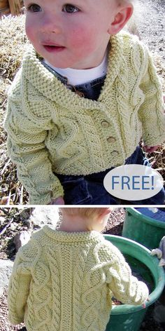 Free Knitting Pattern for Trellis Baby Sweater - Baby cardigan with shawl collar and 18 row repeat trellis cables and seed stitch Sizes 6 12 18 months Designed by Britta Stolfus Rueschhoff for Knitty Aran weight yarn Baby Boy Knitting Patterns Free, Baby Sweater Patterns, Free Knitting, Knitting For Kids, Knitting Stitches, Knitted Baby Cardigan, Knit Baby Sweaters, Baby Boy Cardigan, Knitting Designs