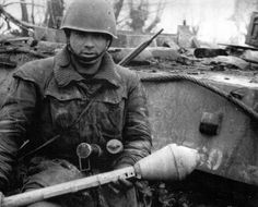 Italian soldier with a Panzerfaust