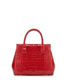 Daisy+Small+Crocodile+Satchel+Bag,+Red+Shiny+by+Nancy+Gonzalez+at+Neiman+Marcus.