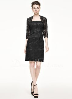 Sheath/Column Knee-Length Lace Mother of the Bride Dress (008062541)