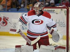 Carolina Hurricanes goaltender Cam Ward makes a save during the first period of an NHL hockey game against the Buffalo Sabres Monday, April 6, 2015, in Buffalo, N.Y. (AP Photo/Gary Wiepert)