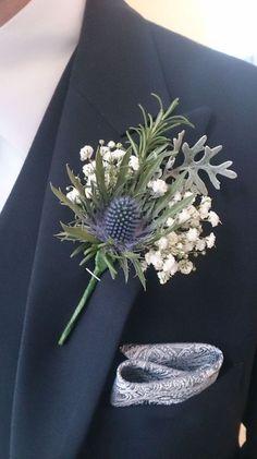 Trendy wedding bridesmaids and groomsmen guys Ideas - Weddings. Thistle Boutonniere, Thistle Bouquet, Thistle Flower, Boutonnieres, Babys Breath Boutonniere, Navy Bouquet, Gypsophila Bouquet, Gypsophila Wedding, Purple Bouquets