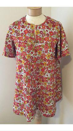 Women's handmade vintage 70's/80's floral blouse/mini dress.