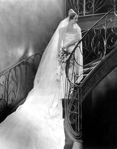Ziegfeld girl playing a bride cheney johnston, vintag bride, stair, bridal photos, vintage photographs, ziegfeld girl, alfr cheney, ziegfeld folli, antiqu