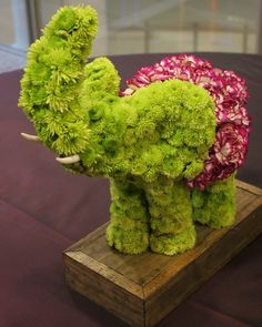 A Small Floral elephant! Small mums mixed with carnations.
