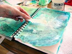 Art Journal: Inspired by Waves and Sunshine.  step by step to create a page.