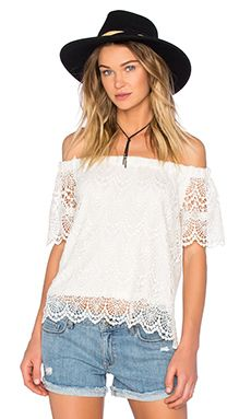 Velvet by Graham & Spencer Padme Cotton Lace Top in White