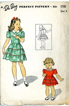 Du Barry 5780 Girls size 8 Dress pattern. size 1940s