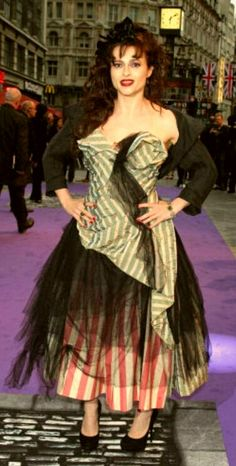Love, love, love this look! The stripes and the black tulle are just too cool, like HBC herself!
