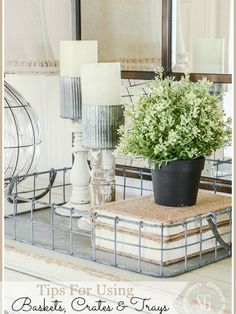 Vintage Farmhouse Decor DECORATING WITH BASKETS, CRATES AND TRAYS- Lots of tips and easy inspiraiton for beautiful decorating - Tips for using baskets, crates and trays in decor gives you tons of easy ways to add these textral elements to your home decor Farmhouse Style, Farmhouse Decor, Farmhouse Furniture, Rustic Style, Rustic Decor, Diy Furniture, Renovation Design, Apartment Decoration, Boho Home