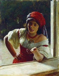 Mykola Yaroshenko (1846 –1898) was a Russian painter.   Gypsy woman,1886