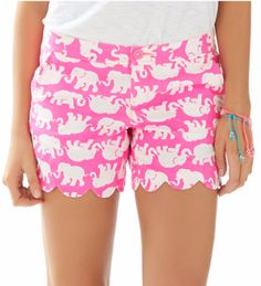Lilly Pulitzer Buttercup Short in Tusk in Sun Pink- scallop hem & elephants- YES.