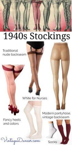 Shop 1940s backseam stockings, nylons, tights, and pantyhose at VintageDancer.com