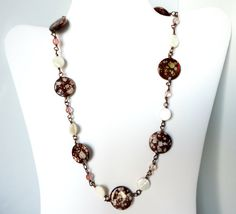 Brown Spotted Shell Mother of Pearl and Shiny by MajaEarrings, $45.00