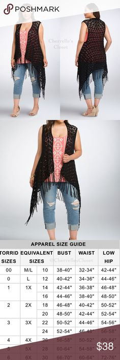 New! $55 Torrid Pointelle Fringe Vest Plus Size Up for Sale is a 5 Star Highly Rated Torrid  Pointelle Fringe Vest  Brand New With Tags Retails for $54.50  When wanderlust strikes, this boho essential is just right for stuffing in your suitcase. Black pointelle knit (a woven that sports intricate eyelets) is the boho compliment to this long,  open front vest style. Fringe trim lends a shimmy-shake quality to any outfit. torrid Jackets & Coats Vests