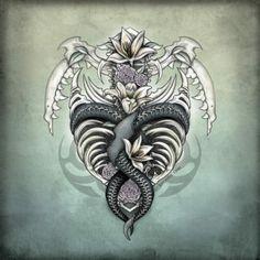 Bone Decor Gothic horror art illustration by Sherrie Thai of Shaireproductions.com. Oddities Curiosities, snake skeleton, Nature Flowers