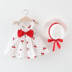 Melario Children's Clothing Baby Girl Clothes Summer Party Clothing for Girls Dress Cherry Dot Princess Dresses Bow Hat Outfits Girls Summer Outfits, Summer Girls, Girl Outfits, Summer Beach, Beach Outfits, Summer Sale, Summer Clothes, Baby Girl Dresses, Baby Girls
