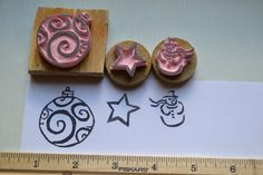 Christmas Stamp Set, Ornament Stamp, Snowman Stamp, Star Stamp, Rubber Stamp, Christmas Stamp, Handcarved Stamp, Winter Stamp, Holiday Stamp by CarveYourWorld on Etsy