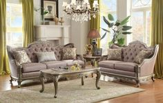 Fiorella Sofa & Loveseat Set 8412 for $1769  The elaborate designs of Old World Europe are treated with a distinct modern touch in the Fiorella Collection. The eye-catching jewel tufting reflects with a brilliance intended to accentuate the dusky taupe coloring of the faux silk and the rich silver, with gold undertone finish of the show wood frame. With details such as shell and acanthus leaf scrolling, routed pilaster and cabriole legs, the traditional look of the collection is solidified.