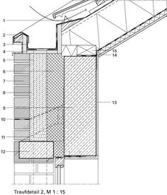 Deutsche BauZeitschrift - All For Decoration Wooden Architecture, Architecture Details, Roof Design, House Design, Structural Insulated Panels, Roof Detail, Building Systems, Detailed Drawings, Steel Structure