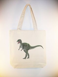 TRex Dinosaur Image Canvas Tote   by Whimsybags on Etsy, $12.00