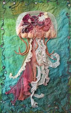 Deep Sea Drifter - Hand and machine stitched on a variety of fabrics embellished with beads and shisha mirrors.