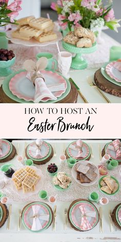 How to Host an Easter Brunch | This Easter it's all about brunch. Keep it simple, serve classic favorites and everyone will be happy. We're talking table decor and recipe ideas. Don't miss this one. || JennyCookies.com Easter Brunch Menu, Easter Lunch, Brunch Party, Easter Dinner, Easter Table, Brunch Food, Easter Food, Easter Party, Brunch Table Setting