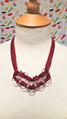 Red / Orange / Yellow block colour textile yarn and glass figure of eight necklace by bdenglass on Etsy