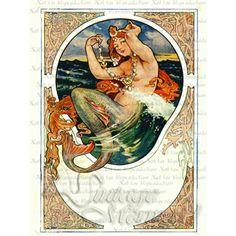Art Nouveau Vintage Mermaid Fabric Block.