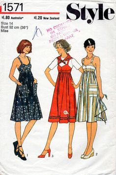 1970s Sun Dress and Scarf Pattern Style 1571 Vintage Sewing