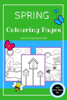 These FREE printable spring colouring pages will make a perfect addition to your spring themed activities. They are colouring pages for kids. They can be used for toddlers, preschoolers and primary school aged kids. #spring #colouringpages #freebie #kidscoloringpages