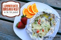 Lumberjack Breakfast Packets. Sausages or Canadian bacon Frozen hash browns, or leftover cooked potatoes, diced; Eggs Chopped tomatoes and green onions, if you like Shredded cheese, any kind. Lay sausages or Canadian bacon on a double layer of foil that has been sprayed lightly with cooking spray. It is best to have the meat on the bottom so it can receive direct heat from the grill to cook properly.