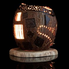 Candle bowl Best gift Art wood carving Coconut shell   Etsy Coconut Shell Crafts, Coconut Leaves, Creation Deco, Concrete Pots, Gourd Art, Hanging Lanterns, Shell Art, Wooden Gifts, Wood Carving