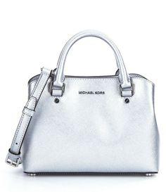 New MICHAEL Michael Kors Silver Metallic Leather Savannah Small Satchel Bag NWT #MichaelKors #Satchel