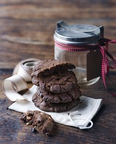 Cocoa powder, cocoa nibs, dried cherries, and white chocolate chips come together in a rich, tender cookie that's as easy to make as traditional chocolate-chip cookies.  Vegetarian Times triple chocolate cherry. Cookies