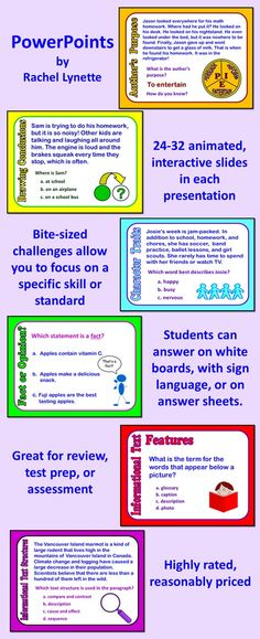 """Each of these PowerPoint Presentations features 24-32 interactive, animated slides. If you have your students answer on individual whiteboards, you can quickly determine who """"gets it"""" and who is still struggling. $2.50-$3.00 each."""