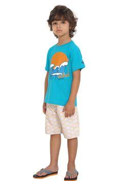 Camiseta de meia malha estampada. Referência: 1286 Bermuda d'água estampada com cós com martingale. Referência: 1286B