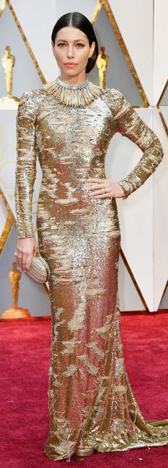 Who made  Jessica Biel's gold sequin gown, glitter sandals, and jewelry?