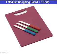 Graters Chopping Board &Knife  Material:  Steel & Plastic Size : (L x W) 32 cm X 15 cm Description: It Has 1 Piece Of Chopping Board & 3 Piece Of  Knife Country of Origin: India Sizes Available: Free Size   Catalog Rating: ★4 (1508)  Catalog Name: Elite Assorted Home & Kitchen Utilities Vol 1 CatalogID_628547 C135-SC1645 Code: 732-4375178-444