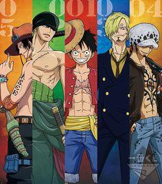 Law, Sanji, Luffy, Zoro et Ace