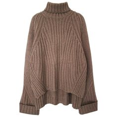 High Low Oversized Turtleneck Sweater found on Polyvore featuring tops, sweaters, long sleeve tops, light brown, oversized turtleneck, polo neck sweater, oversized turtleneck sweater, oversized sweaters and turtleneck sweater