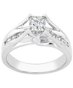 14k White Gold 1ct TDW Princess-cut Diamond Engagement Ring