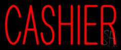 Red Cashier Neon Sign 10 Tall x 24 Wide x 3 Deep, is 100% Handcrafted with Real Glass Tube Neon Sign. !!! Made in USA !!!  Colors on the sign are Red. Red Cashier Neon Sign is high impact, eye catching, real glass tube neon sign. This characteristic glow can attract customers like nothing else, virtually burning your identity into the minds of potential and future customers. Red Cashier Neon Sign can be left on 24 hours a day, seven days a week, 365 days a year...for decades.