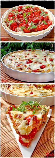 Torta de tomate cereja, muçarela e manjericão, grande combinação! sabores mediterrâneos