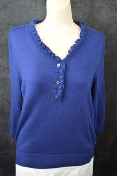 #Lands' #End #Blue #Med #1/4button #V-neck #Lightweight #3/4sleeve #Casual #Sweater #Ladies #LandsEnd #14ButtonVneck