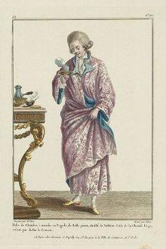 """""""Robe de Chambre à manche en Pagode, de Toille peinte, doublé de Taffetas.  Colle de la Chemise large, rabatu par dessus la Cravate"""", Gallerie des Modes, 1780; MFA 44.1476"""