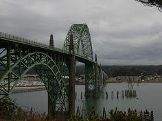 Bridge over the Colombia river where it meets the sea at Astoria, Oregon